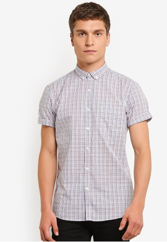 Topman blue Light Blue And Red Checkered Shirt TO413AA0RO9VMY_1