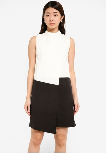 ZALORA black and white and multi Colourblock Splice Dress A0D08AA4837899GS_1