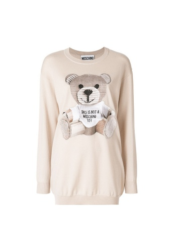 Moschino beige Moschino Teddy Bear Patch Knit Dress in Beige 41F01AA8B48811GS_1