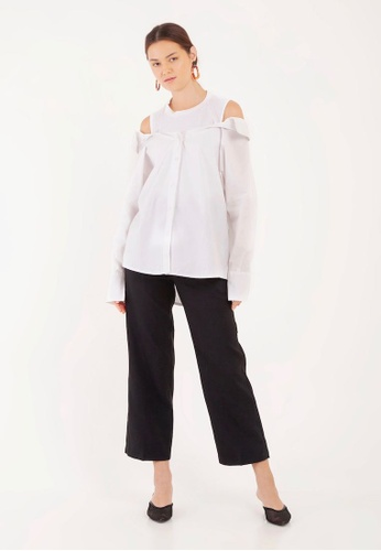 35f26caae3830 Buy The Scarlet Room Odelia Cold Shoulder Oversized Shirt Online on ZALORA  Singapore