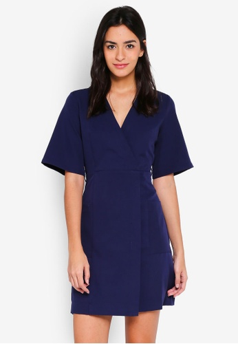 ZALORA navy Kimono Dress With Contrast Stitching 869C8AAD0452FBGS_1
