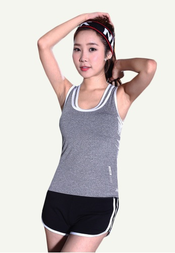 B-Code grey ZYG5147-Lady Quick Drying Running Fitness Yoga Sports Tank Top and Shorts Two Pieces Set-Grey 77FFFAAA84A298GS_1
