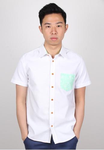 Moley green Tribal Floral Pocket Short Sleeve Shirt MO329AA55JWYSG_1