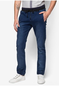 Cn-Back Zipper Pocket Jogger Jeans