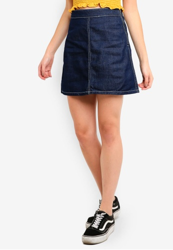 Cotton On blue Denim Aline Skirt 1408DAABD2BD47GS_1
