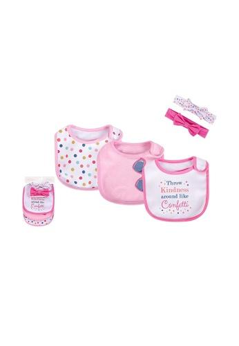 Little Kooma pink Baby Girls Bibs n Headwraps 5 Piece Pack 75508 - 1215 A09DEKC803DC6CGS_1