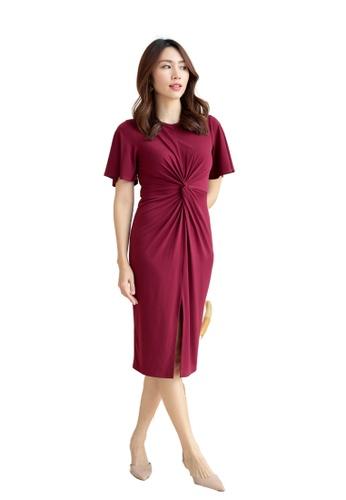 Love Knot red Jubilee Short Sleeve Knot Bodycon Dress (Maroon) D464EAA117FD31GS_1