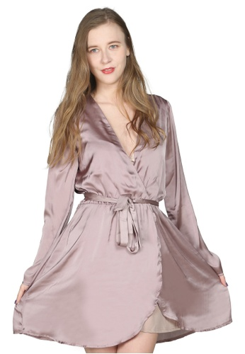 London Rag pink Satin Light Pink Wrap Dress 8B031AA5B9ACEBGS_1