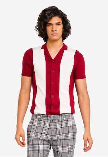 Topman 紅色 紅色 & 白色 Block Revere 襯衫 7470CAA424D2B9GS_1