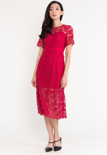 BEBEBUTTERFLY red BebeButterfly Round Neckline Lace With Lining Cocktail Evening Midi Dinner Dress CF258AA40E5E8BGS_1
