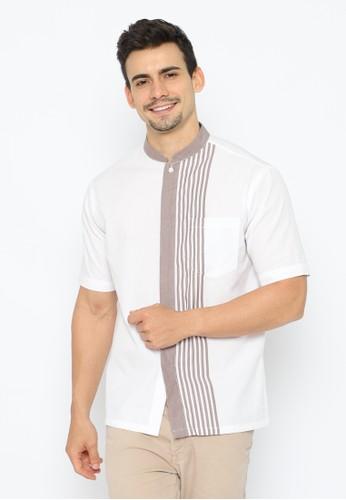 WM white and brown Aidan - Kemeja Baju Koko Katun Ginza - Garis - Putih Coklat F1109AA080C39FGS_1