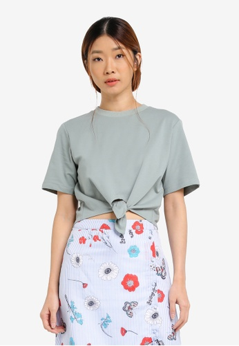 Something Borrowed green Front Tie Tee F1ADEZZF6C8389GS_1