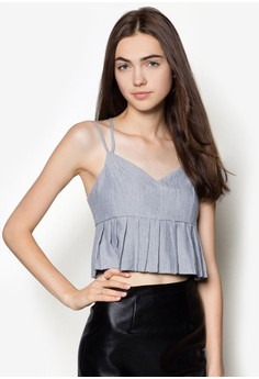 Pleated Cropped Tank Top