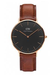 6bbf80fdd1 Daniel Wellington gold and brown Classic Black St Mawes Watch 36mm  DA376AC79NBOMY 1