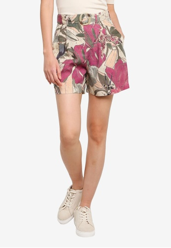 Desigual beige Nature Print Belted Shorts 30A12AA5EBB9A6GS_1