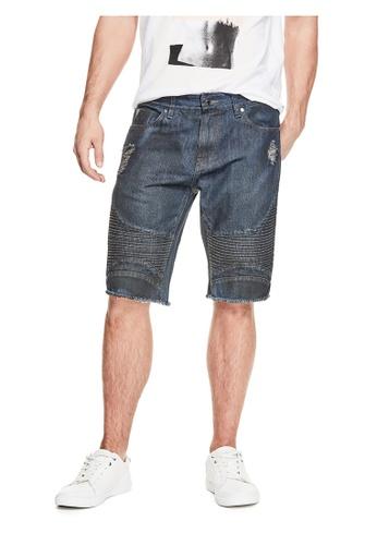 Guess blue Slim Pintuck Moto Shorts GU020AA0GUV7SG_1