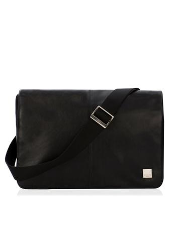 "knomo black Kinsale 13"" Soft Leather Messenger Bag (Black) 810B7AC960C6A2GS_1"