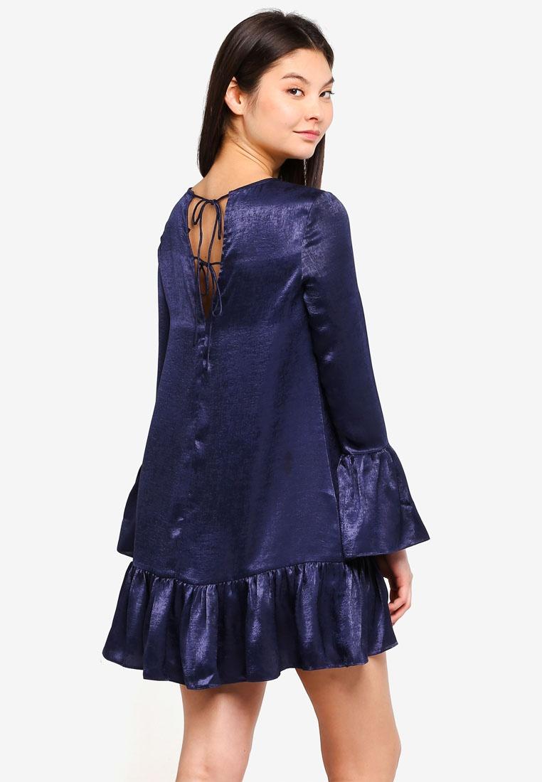 Dress Blue Hem Borrowed Fluted Something Mini Midnight qx60UnqwEY
