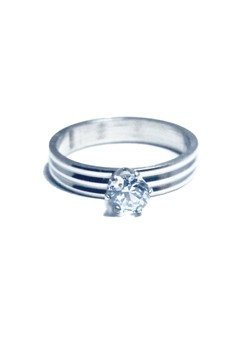 Stainless Steel Barrel Solitaire Ring