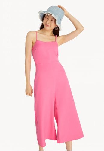 79a6a5fb645 Buy Pomelo Cami Wide Leg Jumpsuit - Pink Online on ZALORA Singapore