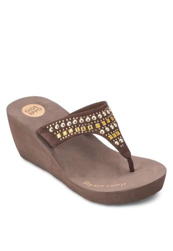 Blues 閃esprit retail鑽中楔形涼鞋, 女鞋, 鞋
