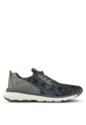 Timberland green Altimeter Fabric And Leather Printed Oxford Sneakers 0AA78SHC6219D0GS_1