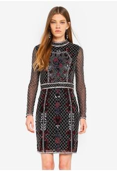 c6baa5ed1b Miss Selfridge black High Neck Embellished Dress Black B6E0FAAE8A820EGS 1