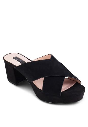 LOCO 交叉寬帶厚底粗跟穆勒鞋, 女鞋, esprit outlet台北鞋