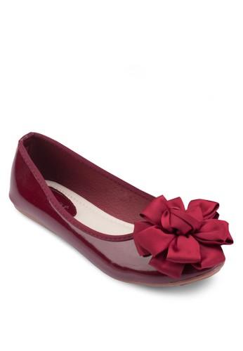立體花飾漆皮平底鞋, 女鞋, esprit outlet 旺角芭蕾平底鞋