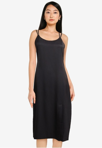 ZALORA BASICS black Double Strap Midi Dress 18CCCAA5E8C5DCGS_1
