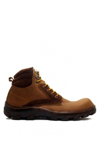 D-Island brown D-Island Shoes Safety Boots Rider Iron Leather Soft Brown DI594SH0VOEEID_1