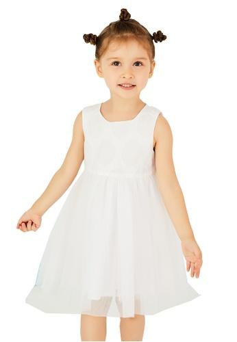 M.Latin white Sleeveless Flare Dress with Mesh B6139KA3169666GS_1