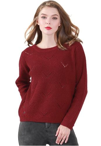 London Rag red Burgundy Long Sleeve Knit Sweater 7B2FAAA23CBC73GS_1