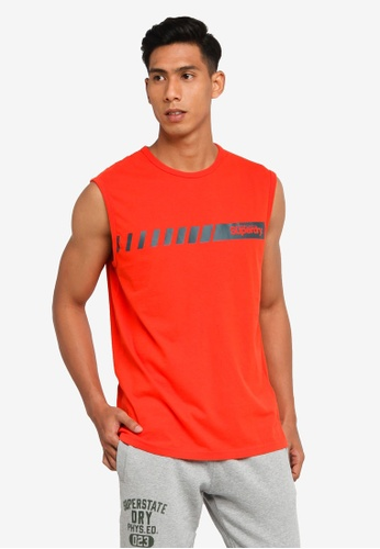 SUPERDRY orange Core Logo Sport Stripe Vest A90B7AAC5B4052GS_1