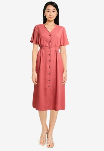 ZALORA BASICS pink Side Elastic Waistband Midi Dress F2C0BAAEDF61C7GS_1