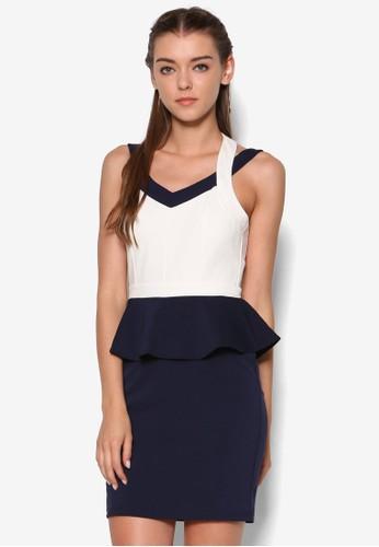 撞色繞脖荷葉腰飾連身裙, esprit官網女裝飾品, 鞋飾品配件