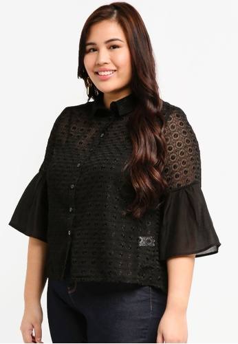 ELVI black Plus Size The Mantle Broderie Blouse With Organza Flare Sleeve AFA46AAB98FE57GS_1