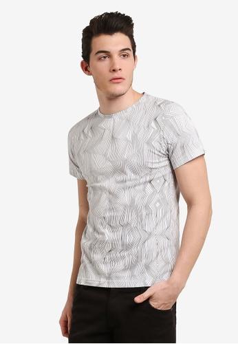 ZALORA white All Over Print Lines Tee 4AFAEAAF43B0A6GS_1