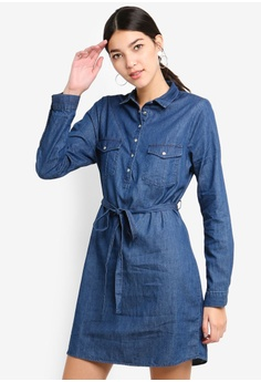 eba9db27b8 Cotton On blue Woven Tammy Long Sleeve Shirt Dress DB6C0AAB165F3DGS 1