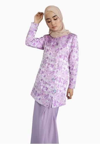 Brocade Embroidered Kurung from Zoe Arissa in Purple