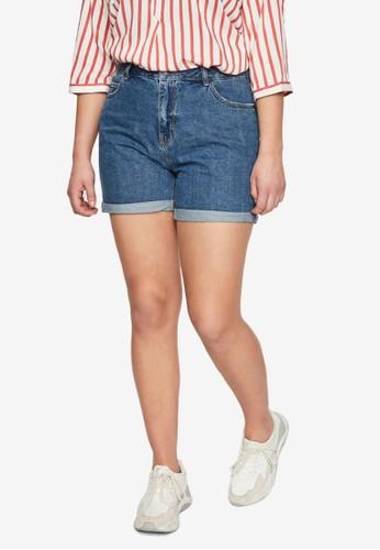 Vero Moda blue Plus Size Nineteen High Waisted Shorts 3826AAA6BE7B97GS_1