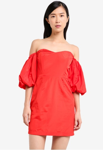 Miss Selfridge red Petite Bardot Taffeta Dress MI665AA0SS6BMY_1