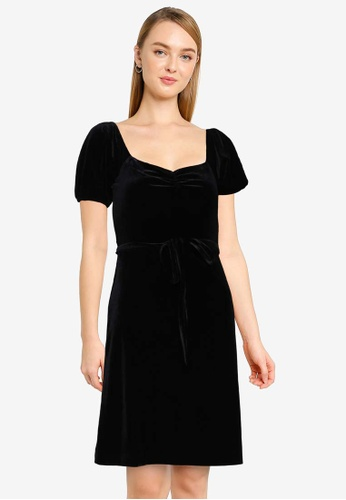 French Connection black Yule Velvet Dress F5B63AA91DD26EGS_1