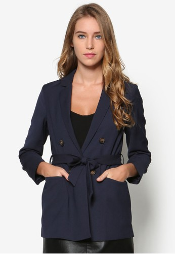 Petite 雙排鈕腰帶西裝外套, 韓esprit台灣門市系時尚, 梳妝