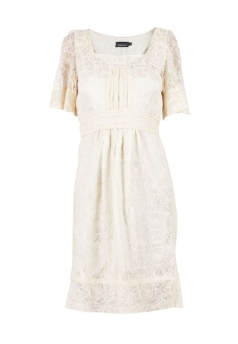 Zimmermann 米褐色 二手 zimmermann 奶油色繫帶蕾絲連衣裙 3E416AAF9790DAGS_1