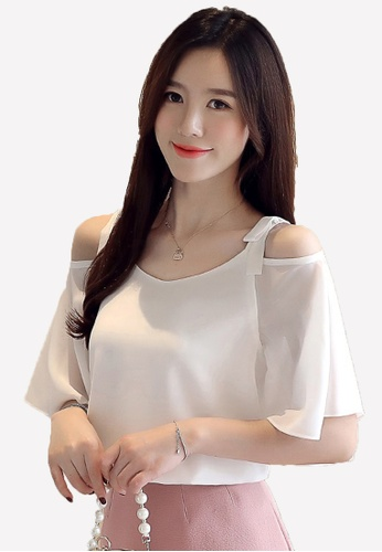 Halo white Cold Shoulder Chiffon Tops 42444AAC840196GS_1