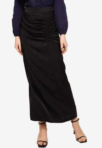 Lubna black Side Ruching Skirt 7435DAA92D1788GS_1