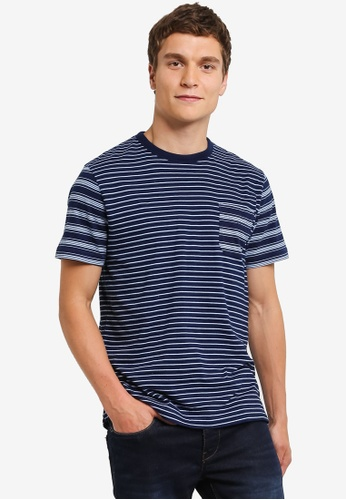 French Connection blue Block Patchwork Indigo Stripes Tee FR878AA0RO7BMY_1