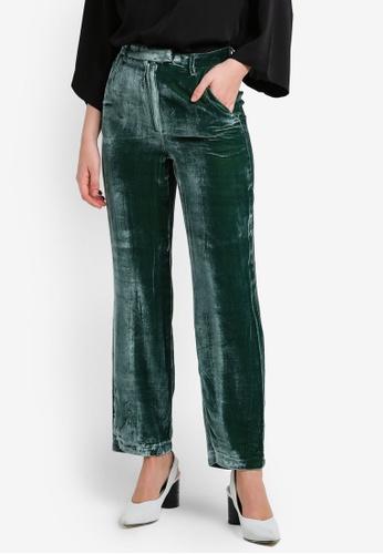 Mango green Velvet Palazzo Trousers MA193AA0RIJCMY_1