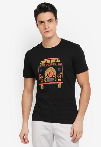 Sisley 黑色 手繪餐車BBQ T恤 D7441AA9D8B916GS_1